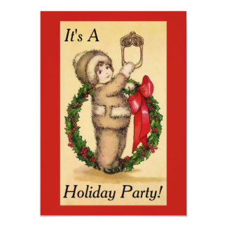Vintage Holiday Wreath Party Invitation