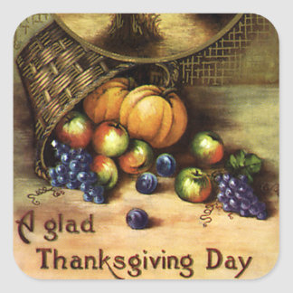 Vintage Holidays, A Glad Thanksgiving Day Square Sticker