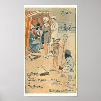 Vintage holidays beach 1900 France French calendar Poster
