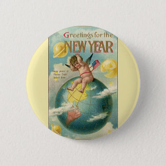 Vintage Holidays, Greetings for the New Year Button