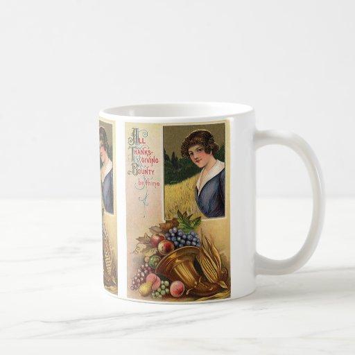 Vintage Holidys, acción de gracias, cosecha y pere Tazas De Café