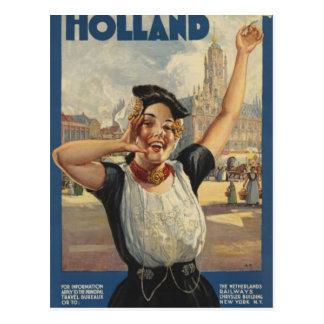 Vintage Holland Air Travel Postcard