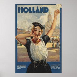 Vintage Holland Air Travel Poster