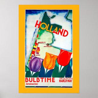 Vintage Holland Bulb Time Poster