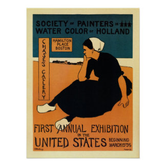 Vintage Holland watercolor painters expo Boston Poster