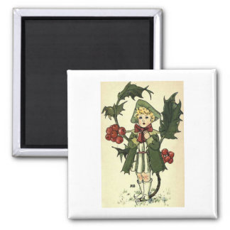 Vintage Holly 2 Inch Square Magnet