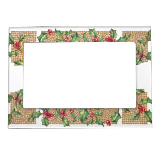 Vintage Holly Berries Magnetic Photo Frame