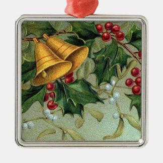 Vintage Holly Berries Metal Ornament