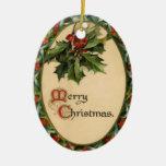 Vintage Holly Christmas Ornament