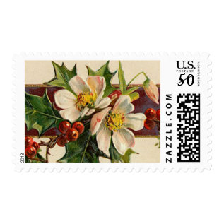 Vintage Holly Christmas Postage at Zazzle