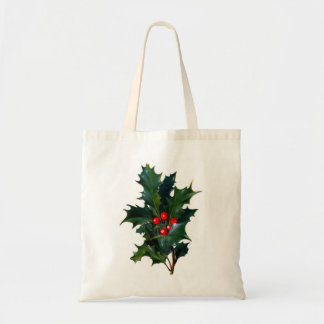 Vintage Holly Holiday Party Favor Gift Bag