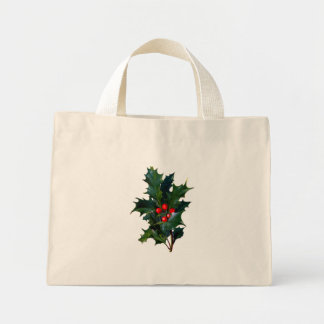 Vintage Holly Holiday Tiny Favor Gift Tote Bags