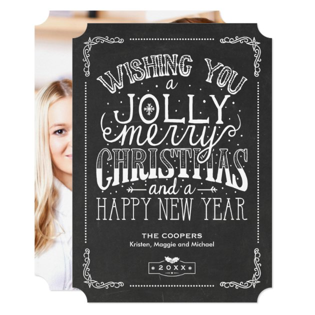 Vintage Holly Jolly Typography Christmas Photo Card
