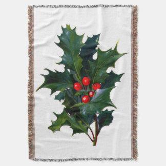 Vintage Holly Leaf and Berry Afghan Throw Blanket