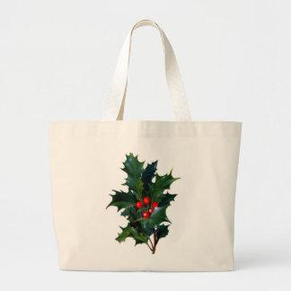Vintage Holly Leaf Berry Tote Bags