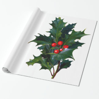 Vintage Holly Leaf Berry Christmas Holiday Wrapping Paper