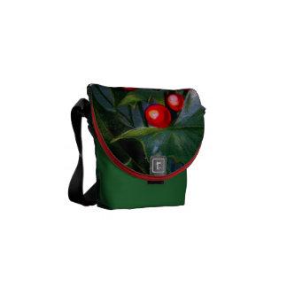 Vintage Holly Leaf Berry Messenger Bags