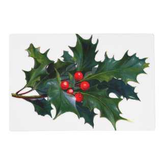 Vintage Holly Leaf Berry Laminated Place Mat