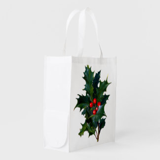 Vintage Holly Leaf Berry Grocery Bags