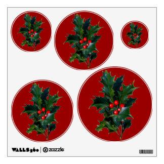 Vintage Holly Red Dots Circles Wall Decal Set