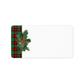 Vintage Holly Red Green Plaid Address Label