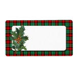 "Vintage Holly Red Green Plaid Blank Holiday Label<br><div class=""desc"">A large label with vintage art of holly on a red and green holiday plaid pattern with a Christmas theme.  Image elements can be deleted or click Customize It to choose your fonts,  change background colors and more,  even save your design for later.</div>"