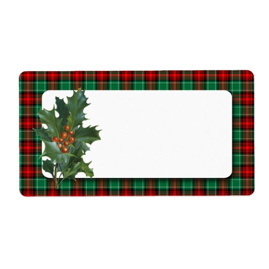 Vintage Holly Red Green Plaid Blank Holiday Label