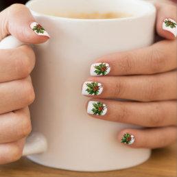Vintage Holly Sprig Christmas Nail Art Stickers