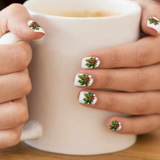 Vintage Holly Sprig Christmas Nail Art Stickers
