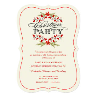 Vintage Holly Wreath Christmas Party Invitations at Zazzle