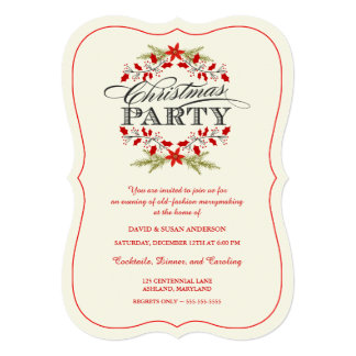 Vintage Holly Wreath Christmas Party Invitations