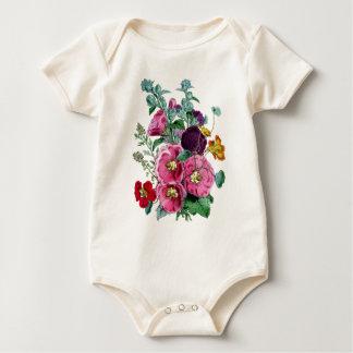 Vintage Hollyhock Blooms Baby Bodysuit