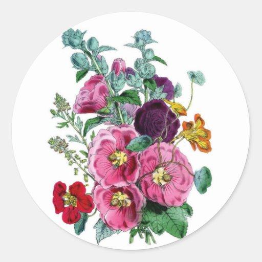 Vintage Hollyhock Blooms Round Stickers