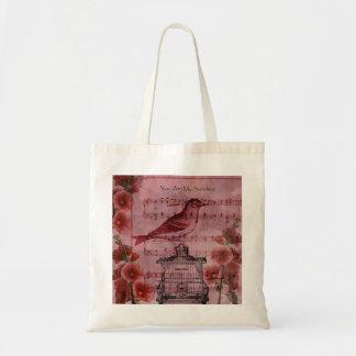 Vintage Hollyhock Song Bird Tote Bags