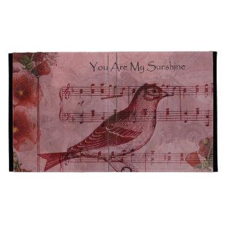 Vintage Hollyhock Song Bird iPad Folio Cover