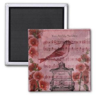 Vintage Hollyhock Song Bird Magnet