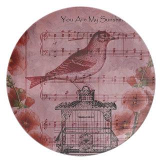 Vintage Hollyhock Song Bird Plate