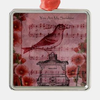 Vintage Hollyhock Song Bird Square Metal Christmas Ornament