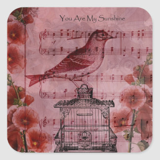 Vintage Hollyhock Song Bird Square Sticker