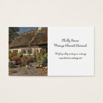 Vintage Hollyhocks and Chickens Business Card