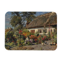 Vintage Hollyhocks and Chickens Magnet