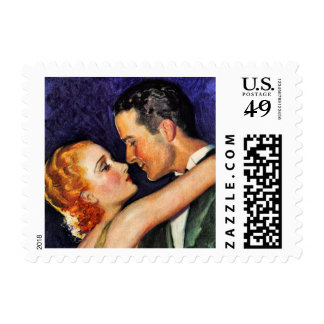 Vintage Hollywood Couple Postage Stamp