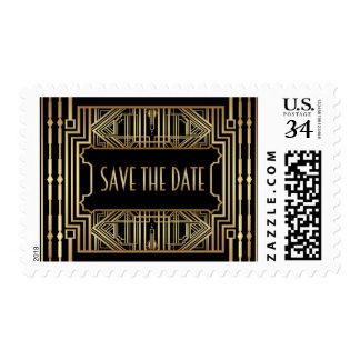 Vintage Hollywood Gatsby Wedding Save the Date Postage