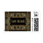Vintage Hollywood Gatsby Wedding Save the Date Postage Stamp