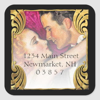 Vintage Hollywood Glamour Couple Square Sticker