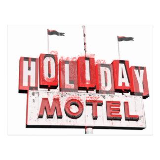 Vintage Hollywood Motel Sign Postcard