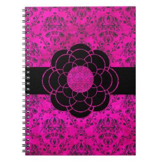 Vintage Hollywood Pink Damask with Flower Spiral Note Book