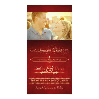 Vintage Hollywood Poster Red & Gold Save the Date Card