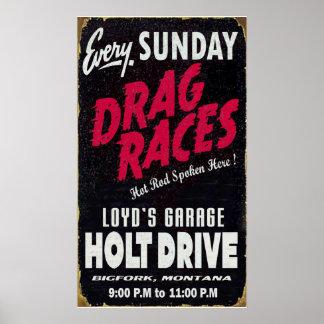 Vintage Holt Drive Drag Races distressed sign Poster