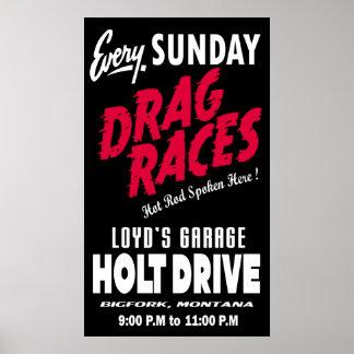 Vintage Holt Drive Drag Races sign black Poster